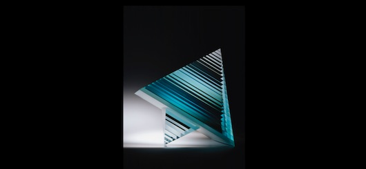 Václav Cígler, Pyramid, 1987, vacuum metal coated table glass, glued, cut and polished